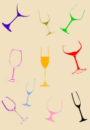 Wine glasses. Vector illustration on the background