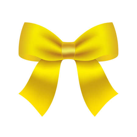 Decorative yellow bow  Vector bow for page decor isolated on white
