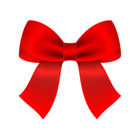 Decorative red bow. Vector bow for page decor isolated on white