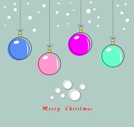 Merry Christmas greeting card. Christmas balls. Vector illustration 向量圖像