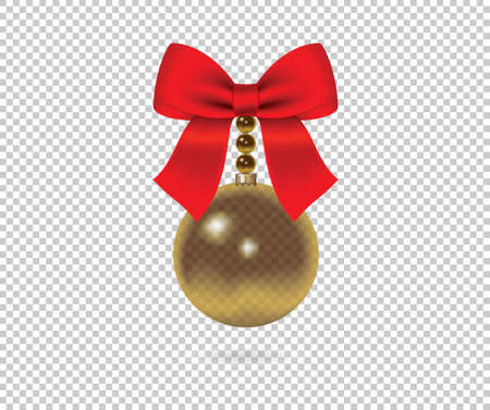 Decorative red bow  and Christmas ball Vector bow for page decor isolated