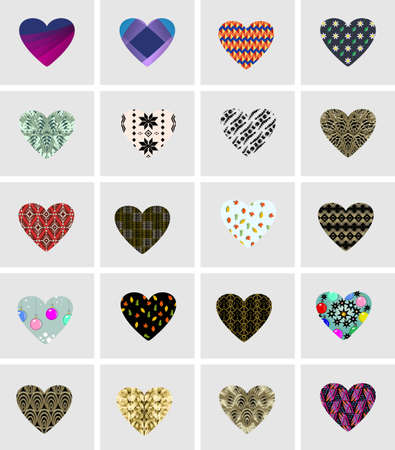 Elements in shape of heart. Vector symbols of love for Happy Women's, Mother's, Valentine's Day, birthday