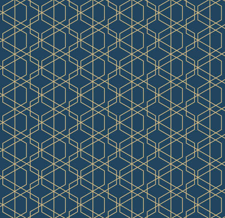 Abstract geometric pattern with lines and rhombuses A seamless vector background. Blue-black and gold texture