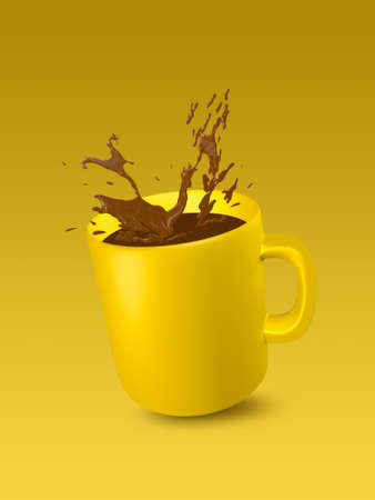 Yellow ceramic cup with splashes of coffee on yellow background for text