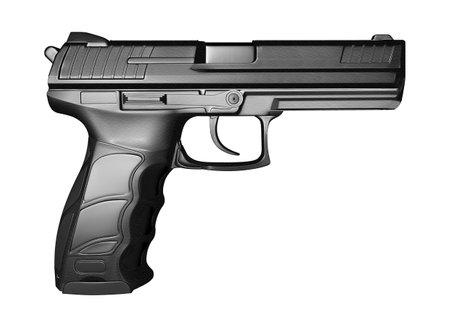 Black pistol gun isolated on white background in 3d illustration style Foto de archivo