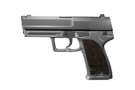 Black gun pistol isolated on white background 3D illustration