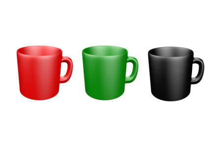 Realistic mockup of a mug for drinks front view. Red, black, green blank isolated cup Foto de archivo
