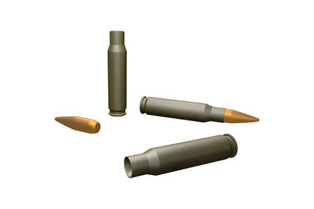 Bullets and cartridges on white background