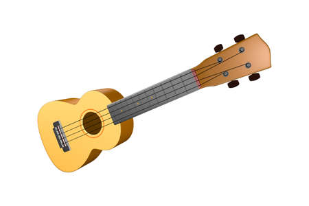 The brown ukulele guitar isolated on the white background Foto de archivo