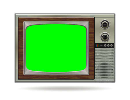Realistic TV LCD screen mockup. Panel with green screen isolated on white background. Vector illustration