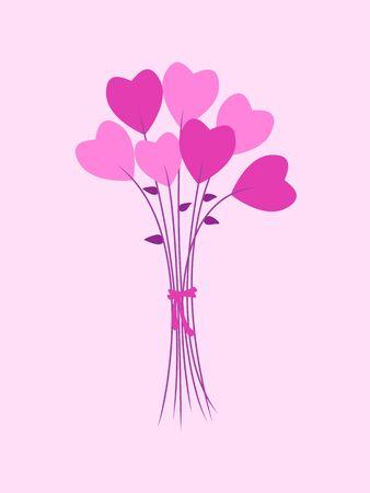 Tarjeta de felicitación del día de San Valentín. Ramo de flores en una forma de corazón. Ilustración de vector