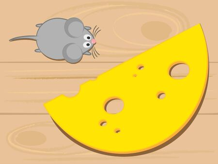 simple frame: Mouse and cheese on a wooden background top view