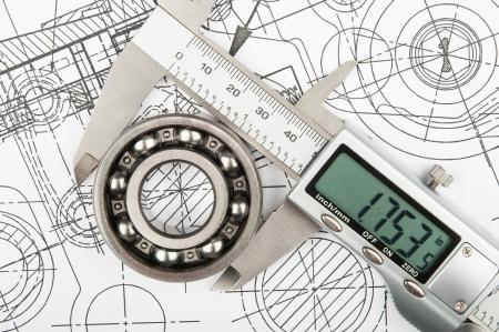 キャリパーでベアリングの径の工業用計測