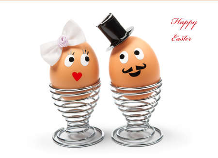 funny easter:  Funny easter eggs on white Stock Photo