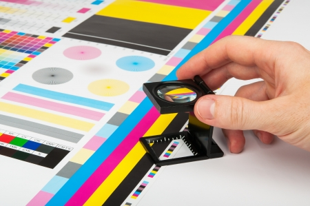proof: CMYK color check on printed paper Stock Photo