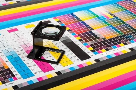 pantone: Magnifying glass standing on a leaf of the test print