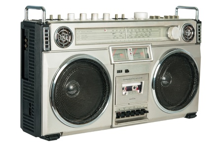 stereo cut: Vintage radio cassette recorder isolated on white