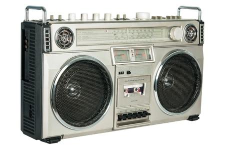 Vintage radio cassette recorder isolated on white