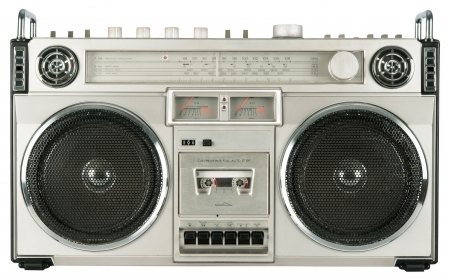 boombox: Vintage radio cassette recorder isolated on white