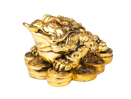 Chinese Feng Shui Frog with coins, symbol of money and wealth photo