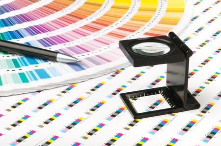 imprenta: Gestión del color en la producción de impresión Foto de archivo