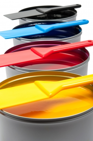 Printing inks isolated on white background