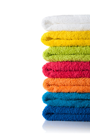 Stack of colorful towels isolated