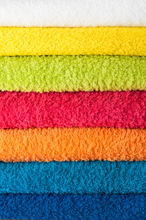 terry: Stack of colorful towels  Stock Photo