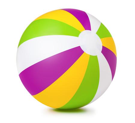 白の背景に色の膨脹可能なビーチボール 写真素材