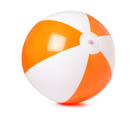 Colored inflatable beach ball on white background