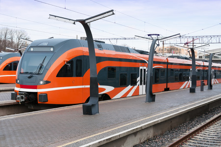 Modern European train in Estonia Stok Fotoğraf