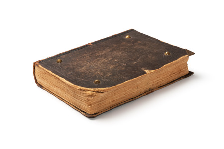 白い背景で隔離の古い本