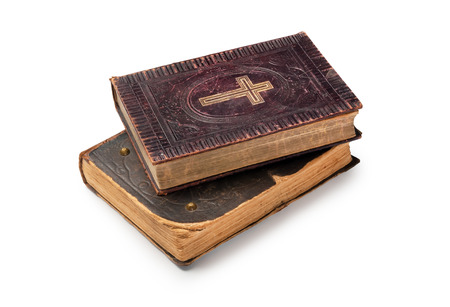 bible background: Two old bibles on white background