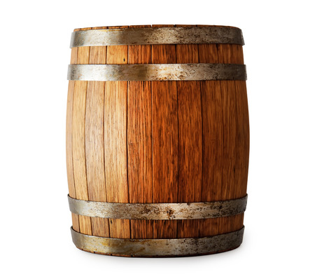 single beer: Wooden oak barrel isolated on white background