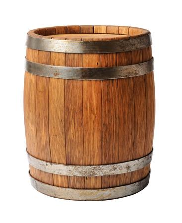 whisky: Fût de chêne en bois isolé sur fond blanc Banque d'images