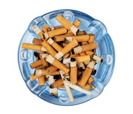 白で隔離灰皿のタバコの吸殻