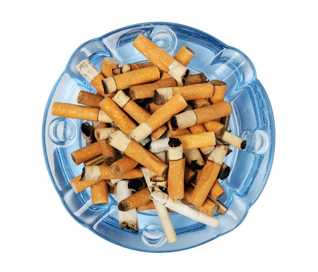 ashtray: Cigarette butts in the ashtray isolated on white
