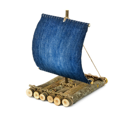 raft: Wooden raft on white background