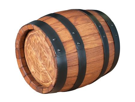 白い背景に分離されたオーク木樽