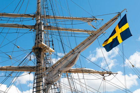 Masts of the old sailing ship on sky background Standard-Bild
