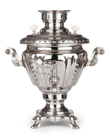 Vintage russian tea samovar isolated on white