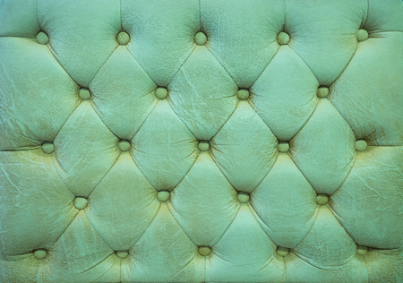 antique booth: Vintage leaf green leather upholstery buttoned sofa background Stock Photo