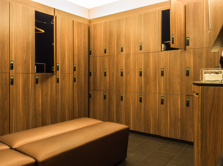 Design of modern wooden lockers and bench
