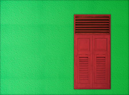 knobby: Christmas theme for copy space , classic red wooden windows on green rough cement background wall