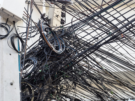 Chaotic wire on electricity post