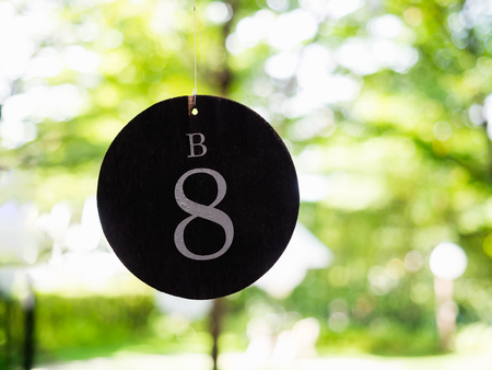number eight: number eight plate of table in restaurant for wedding party Stock Photo