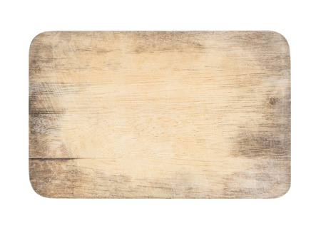 wooden chopping board with scratched surface on isolated background  Stockfoto