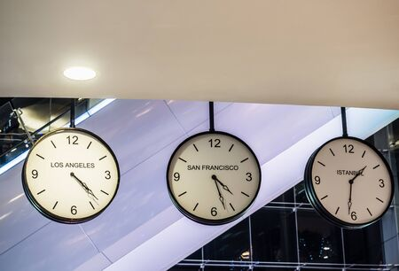 timezone: Three different international hanging wall clock, Los Angeles, San Francisco, Istanbul