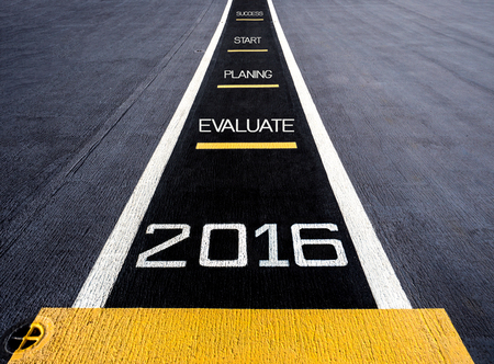 aircraft carrier: Start to new year two thousand sixteen (2016), painted on a runway of an aircraft carrier