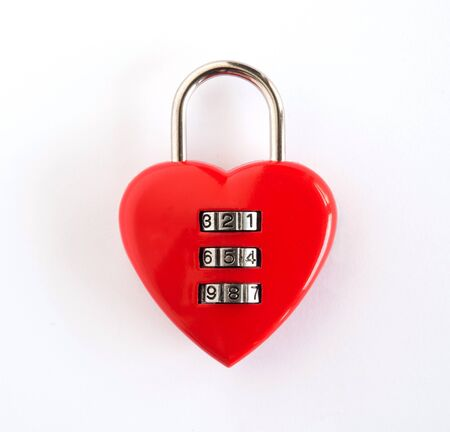 combination: combination lock Red heart-shape combination lock isolated on white background
